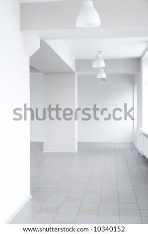 Clean bright white modern interior.