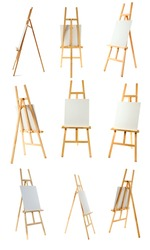 Clean canvas on a wooden easel isolated on a white background.