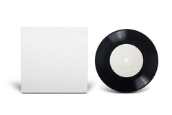Clean cardboard cover with 7-inch vinyl single record. Mock up design template