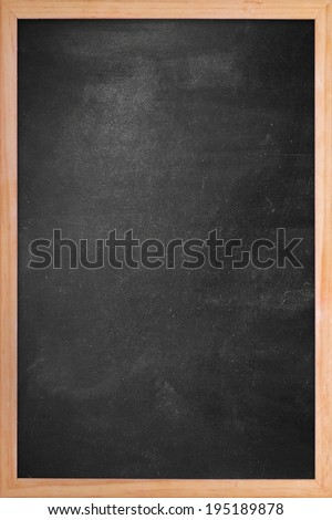 Clean chalk board in wooden frame