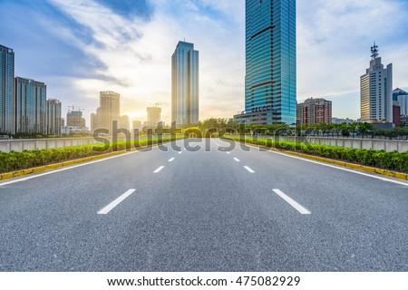 clean city road,shanghai,china. #475082929
