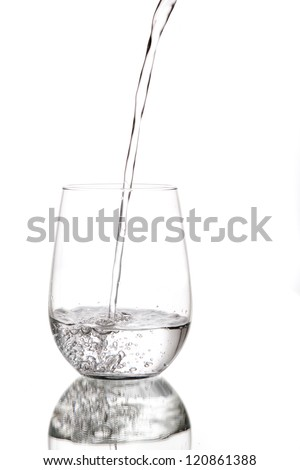 Clean, clear water being poured into a glass cup.