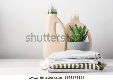 Clean clothes and eco-friendly bottled laundry detergents. Homemade green succulent plant. Green life concept