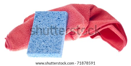 Clean Concept with Vibrant Sponge and Towel Isolated on White with a Clipping Path.