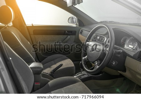 Clean console modern car, black indoor design, copy space. #717966094