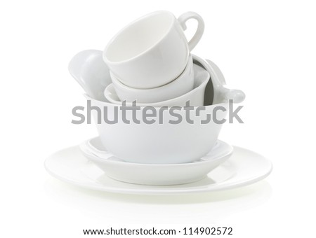 clean dishes and cups isolated on white background