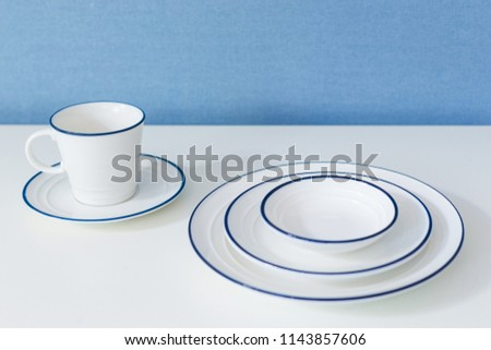 Clean dishware on white #1143857606