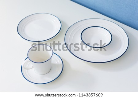 Clean dishware on white #1143857609