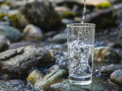Clean drinking mineral water in a glass
