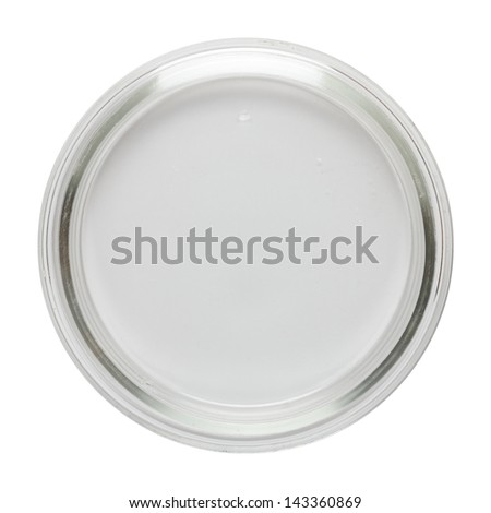 Clean empty perti dish isolated on white, top view - stock photo