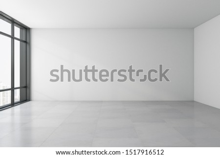Clean empty spacious interior with panoramic city view, copy space and sunlight on concrete floor. 3D Rendering  ストックフォト ©