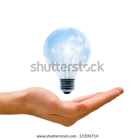 Clean energy, a light bulb with a bright sky held up by a hand.