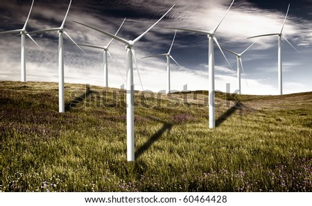 Clean energy being generated by a windmills park
