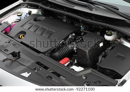 Clean engine bay of a brand new car