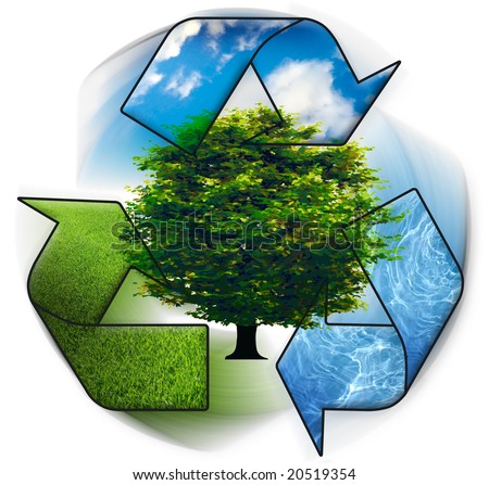 Clean environment - conceptual recycling symbol and green tree