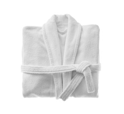 Clean folded bathrobe isolated on white, top view