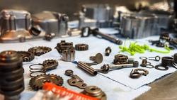 Clean gears assembling a motocross engine
