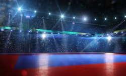Clean grand combat arena in bright lights