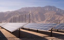 Clean Green Energy Wind Turbines Desert Solar Power