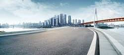 Clean highway leading to the city's financial district