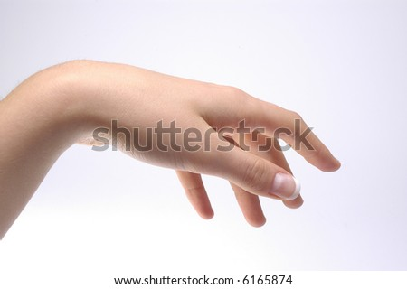 clean image with woman hand, blue background