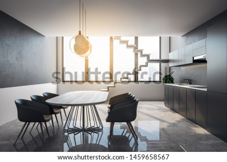 Clean loft kitchen interior with furniture, stairs, city view and sunlight. 3D Rendering  #1459658567