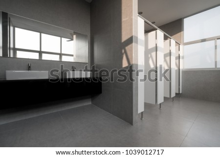 . An Modern Public Bathroom in window light   Images and Stock Photos