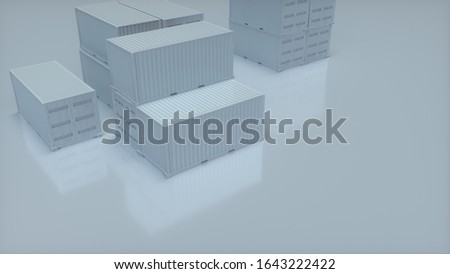 Clean minimal background featuring shipping containers used for transportation of goods via a container ship, 3D, 3D artwork, 3D rendering, 3D illustration