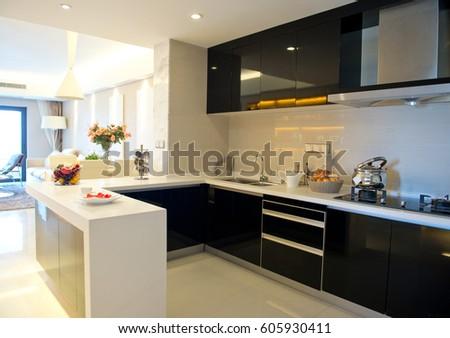 Clean modern kitchen in a modern home. #605930411