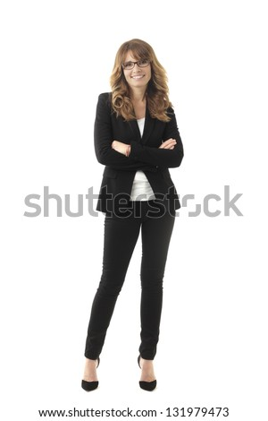 6f8b4e5d648 Clean modern portrait of a mature professional business woman with ample  copy space. Isolated on