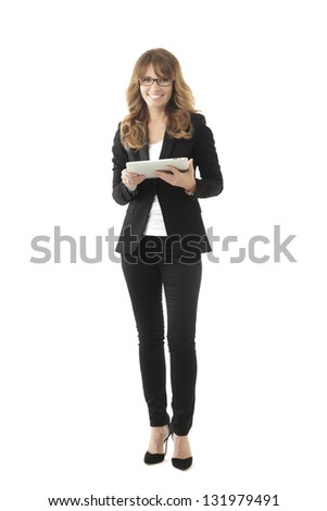 Clean modern portrait of a mature professional business woman with ample copy space. Isolated on white background.