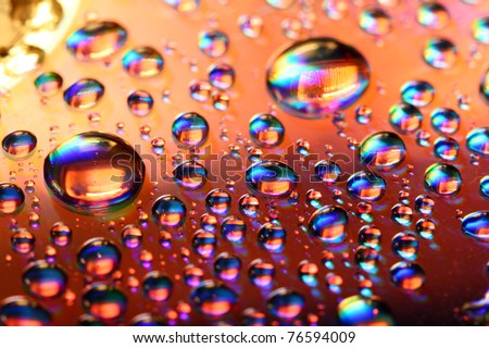 clean multicolored waterdrops