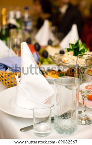 Clean Napkin on empty plate before party begins