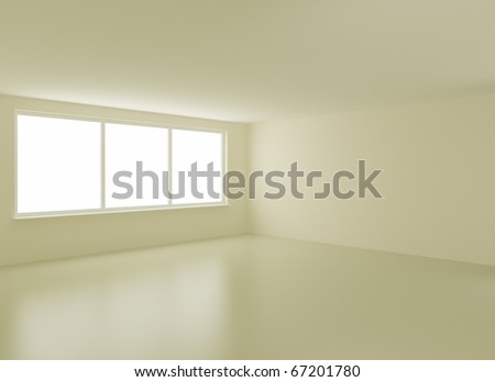 Clean new interior, with clipping path for windows, 3d illustration