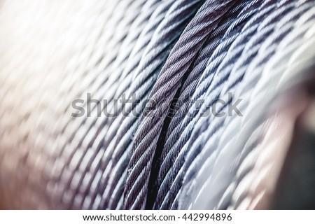 clean new steel cable steel wire or steel rope, rope sling drum. Foto d'archivio ©