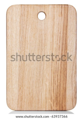 clean oak cutting board isolated on white