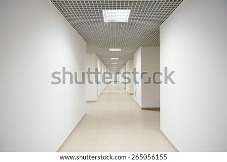 clean office hallway without anybody inside