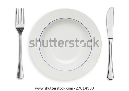 Clean placed plate with fork and knife isolated on white background