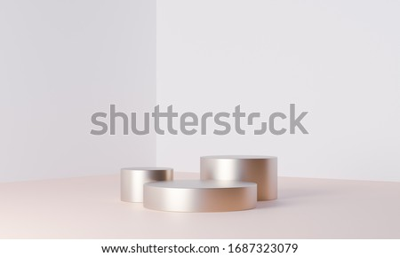 Clean product pedestal or podium, gold frame, memorial board, abstract minimal concept, blank space, clean design, luxury mockup. 3d render