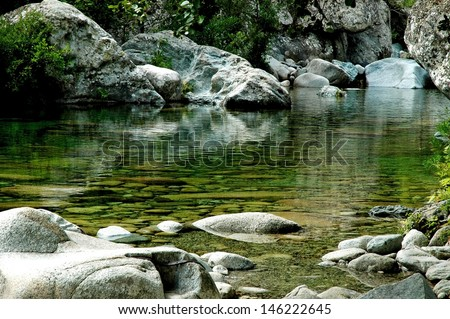 Clean, quiet water stream in Purcaraccia canyon, Corsica, France
