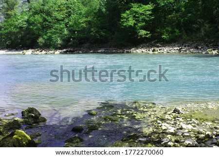 Clean river in the mountain, picturesque view, nature.