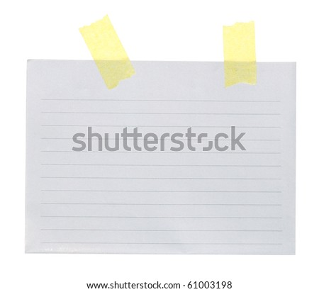 Clean sheet of paper with sticky ribbons