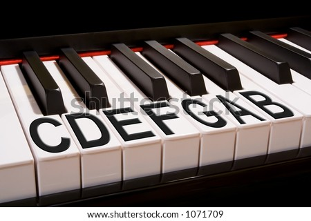 Clean shot of a piano keyboard with the names of the scale notes labeled on the keys.