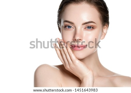 Clean skin woman face close up cosmetic concept isolated on white beautiful female beauty