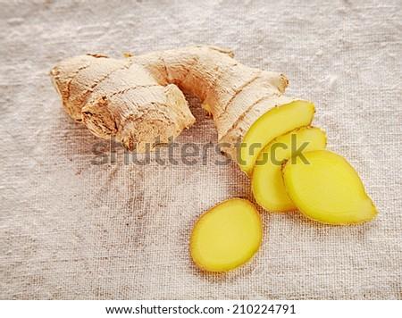 Clean Sliced Ginger on White Cloth Good for Cancer Prevention