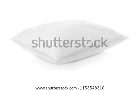 Clean soft bed pillow on white background