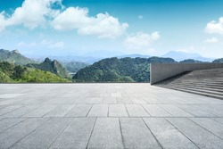 Clean square floor and mountain natural landscape