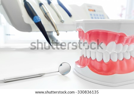 Clean teeth denture, dental jaw model, mirror and dentistry instruments in dentist\'s office.