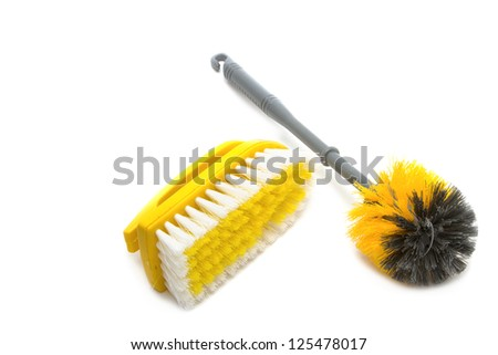 Clean tool,Plastic toilet brush isolated on white background - stock photo