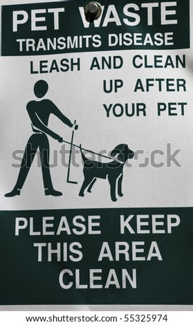 Clean up after your pet - sign in the park